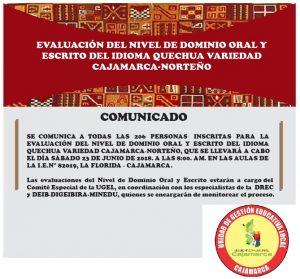 EVALUACIÓN DEL NIVEL DE DOMINIO ORAL Y ESCRITO DEL IDIOMA QUECHUA VARIEDAD CAJAMARCA-NORTEÑO