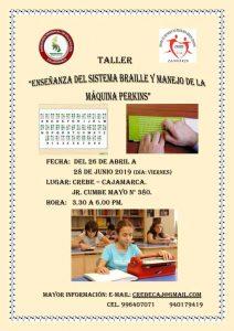 """TALLER-""""ENSEÑANZA DEL SISTEMA BRAILLE Y MANEJO DE LA MÁQUINA PERKINS"""""""