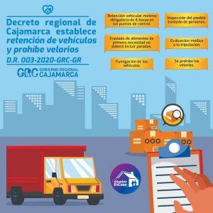 DECRETO REGIONAL DE CAJAMARCA ESTABLECE RETENCIÓN DE VEHÍCULOS Y PROHÍBE VELORIOS D.R.003-2020-GRC-GR.