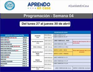 Programación para la semana 04 de aprendo en casa de radio