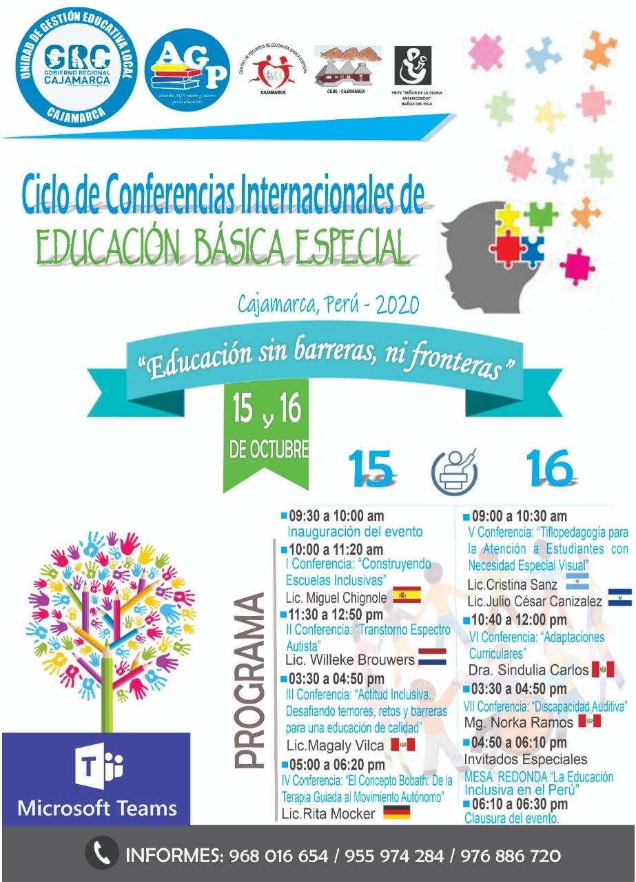 """La Unidad de Gestión Educativa Local de Cajamarca invita a participar a todos los maestros, psicólogos, terapeutas y estudiantes en educación, en el CICLO DE CONFERENCIAS INTERNACIONALES, """"Educación sin barreras, ni fronteras""""."""